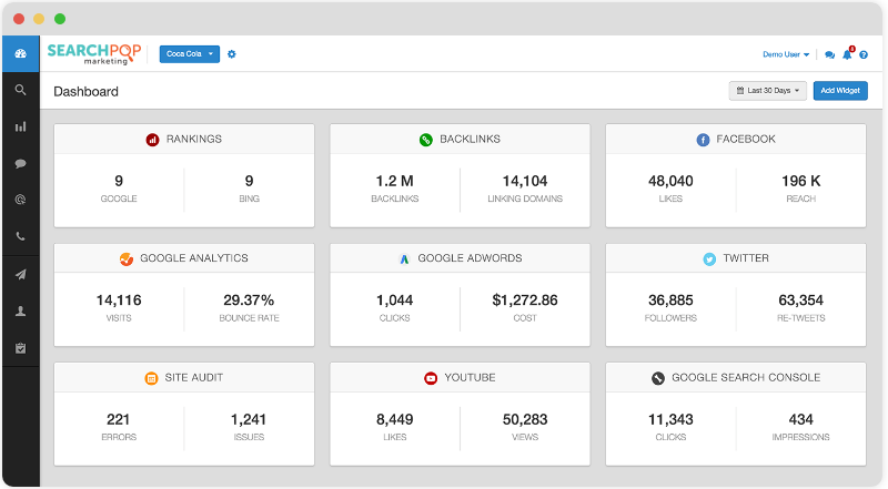 SearchPOP Marketing SEO Software Dashboard
